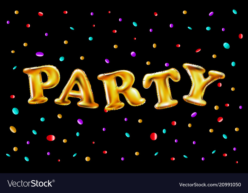 Gold party balloons background for web banners vector image