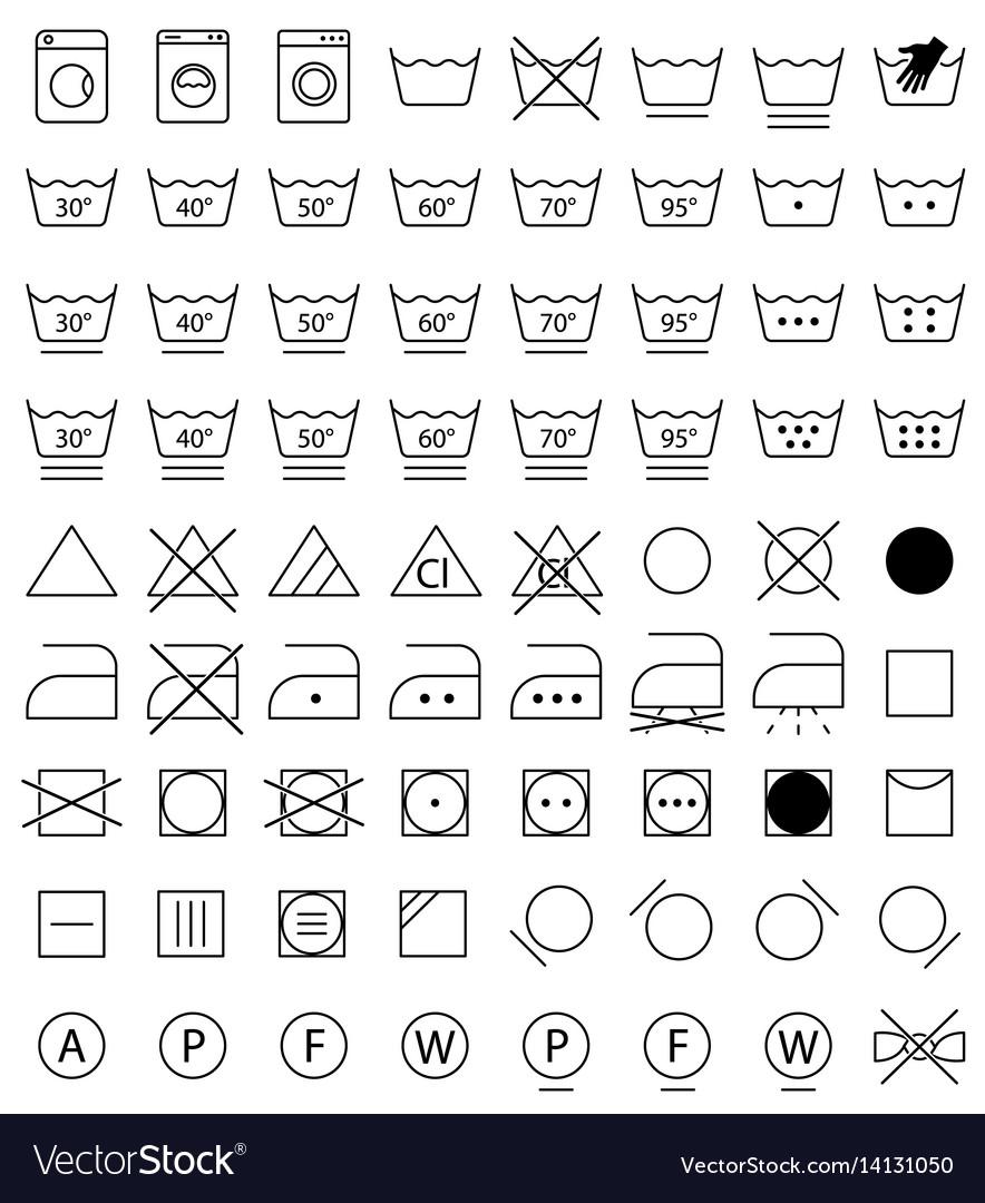 Laundry icons washing symbols