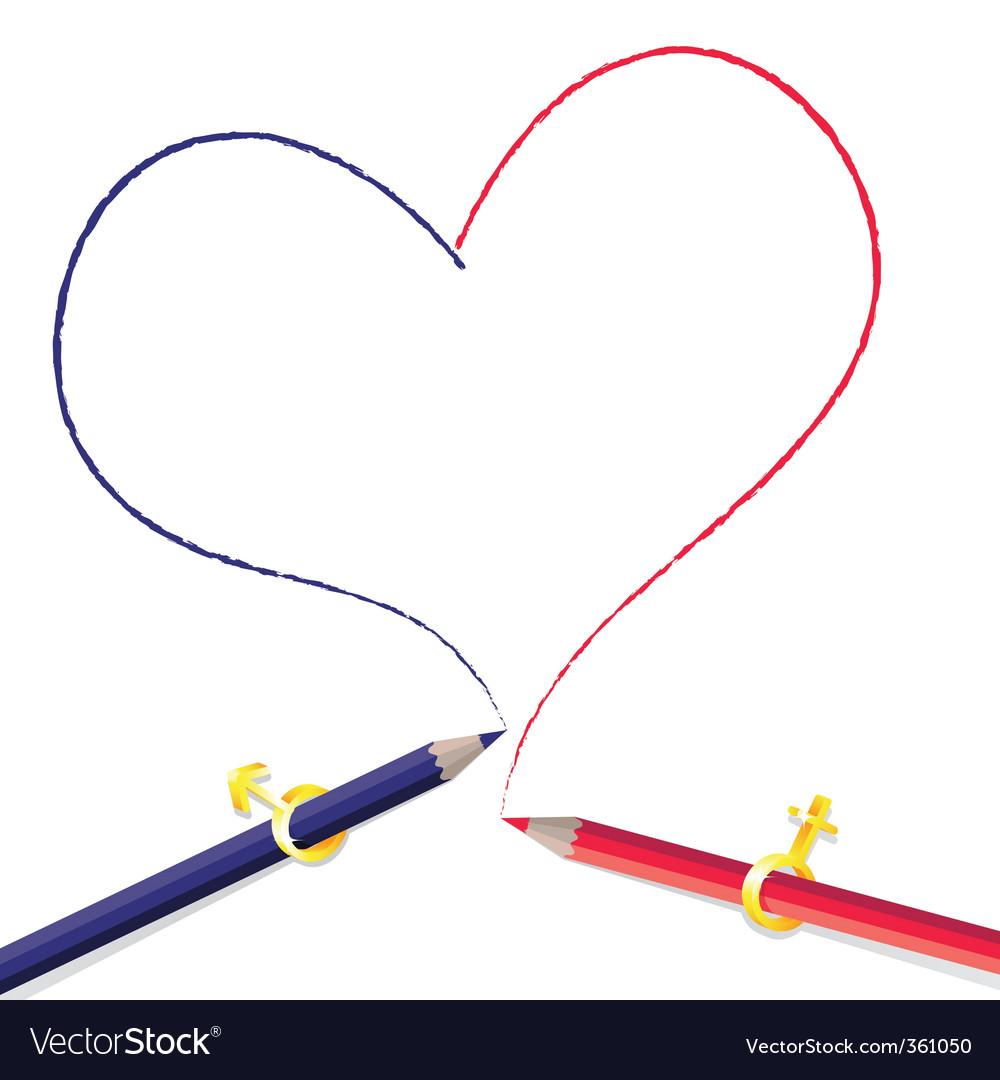 Pencils drawing heart vector image