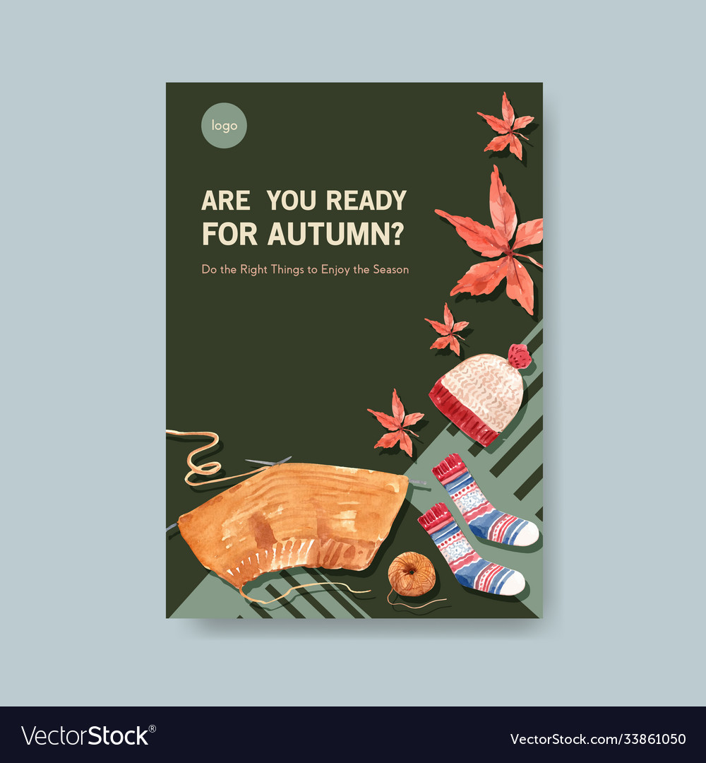 Poster template with autumn daily concept design