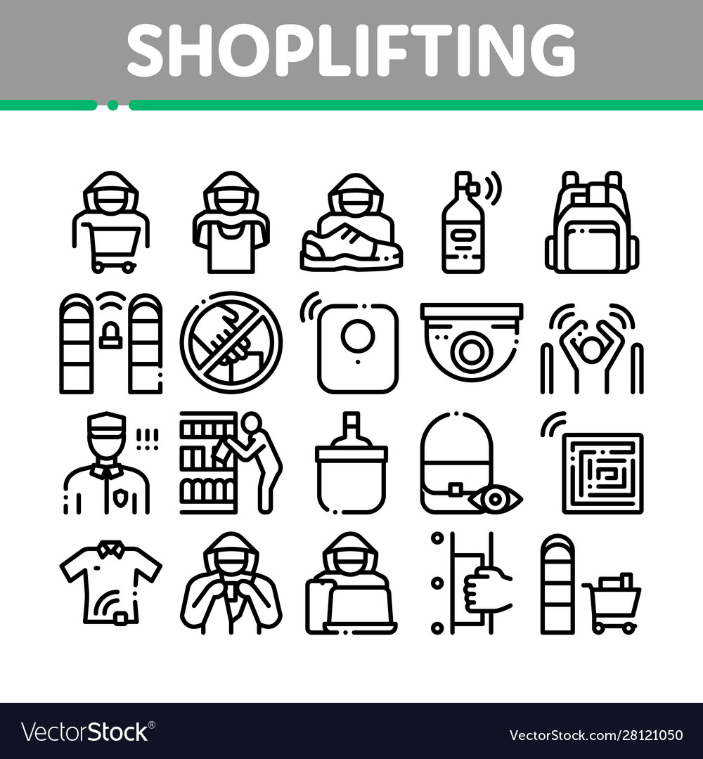 Shoplifting collection elements icons set