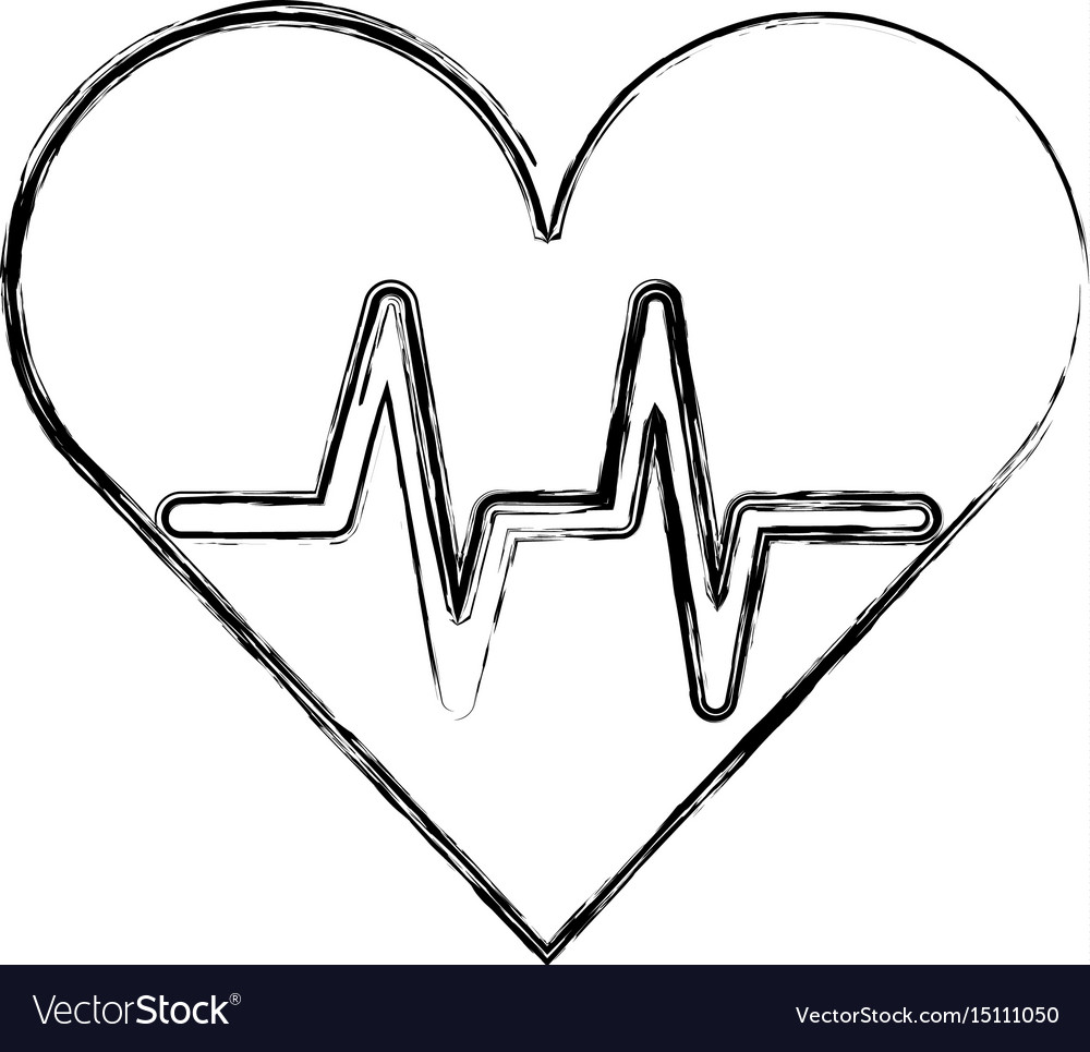 Sketch Draw Heart Beat Pulse Royalty Free Vector Image