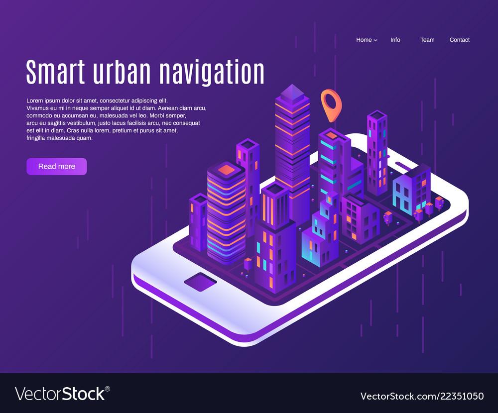 Smart urban navigation city plane view on
