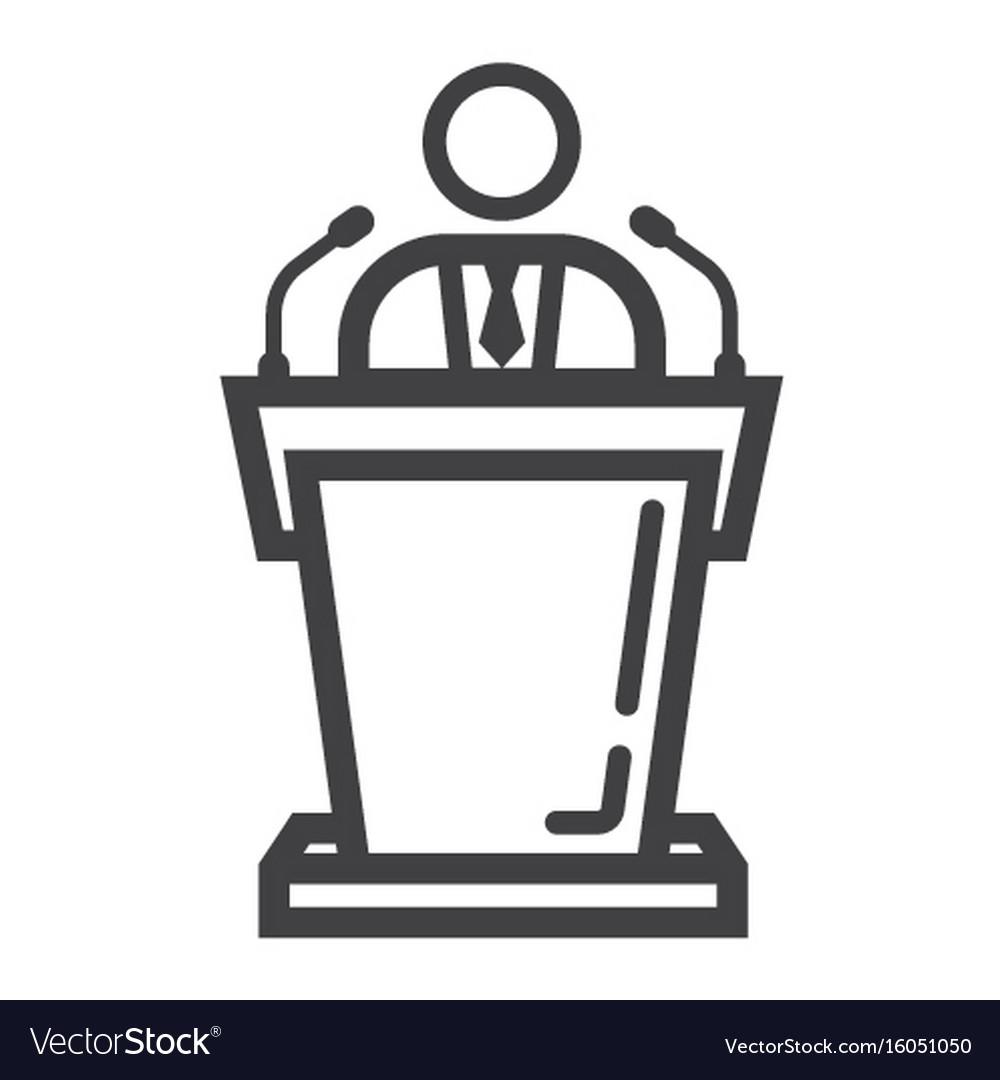Speaker line icon business and tribune