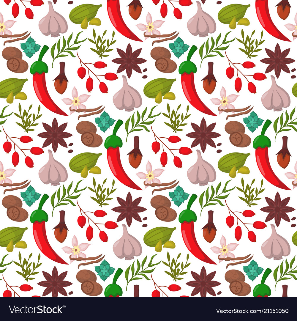 Spices condiments seamless pattern backgroun