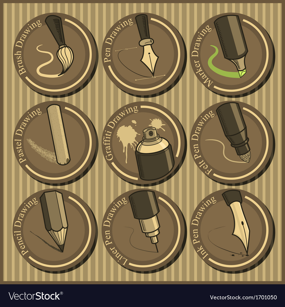 Vintage icon set of different drawing tools