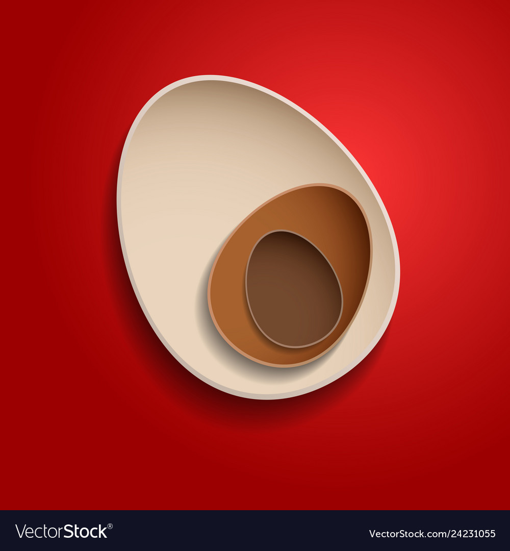 Abstract chocolate easter eggs on red background