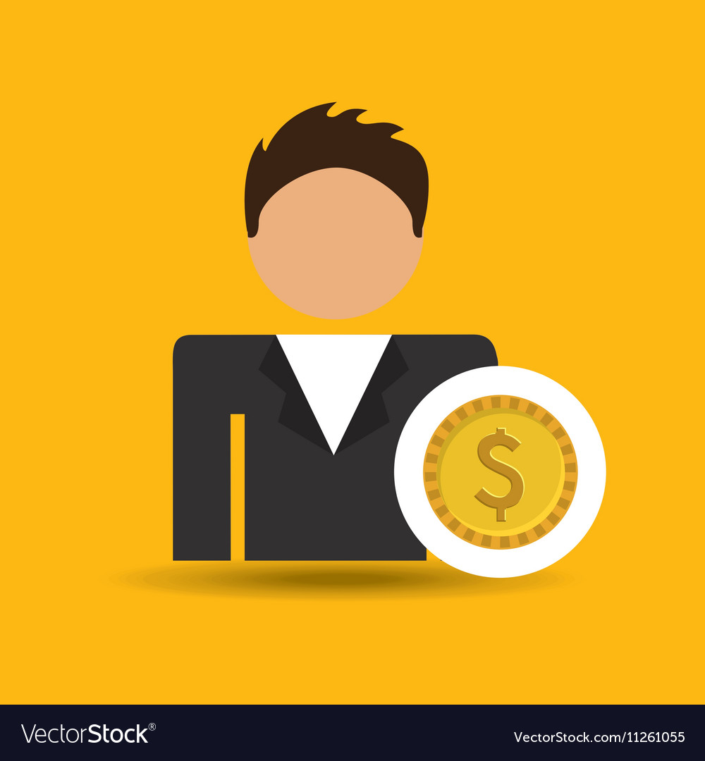 Character man currency coins money icon