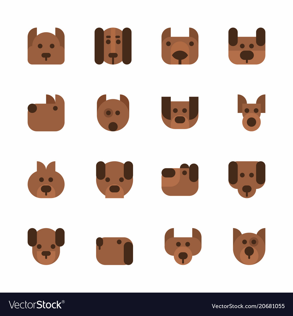 Dogs heads emoticons set cute pets