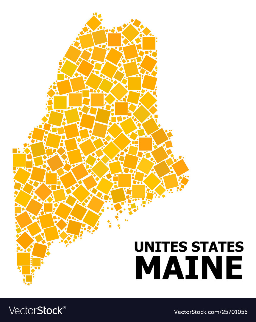 Gold rotated square mosaic map maine state