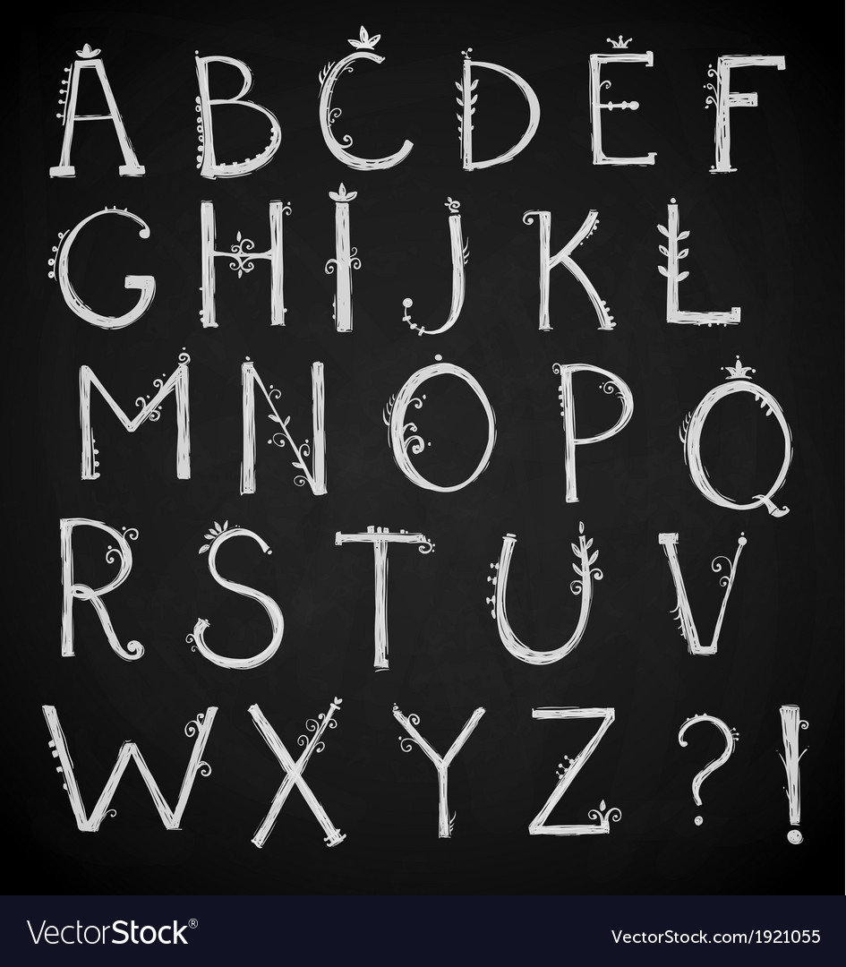 Hand drawn alphabet doodle font