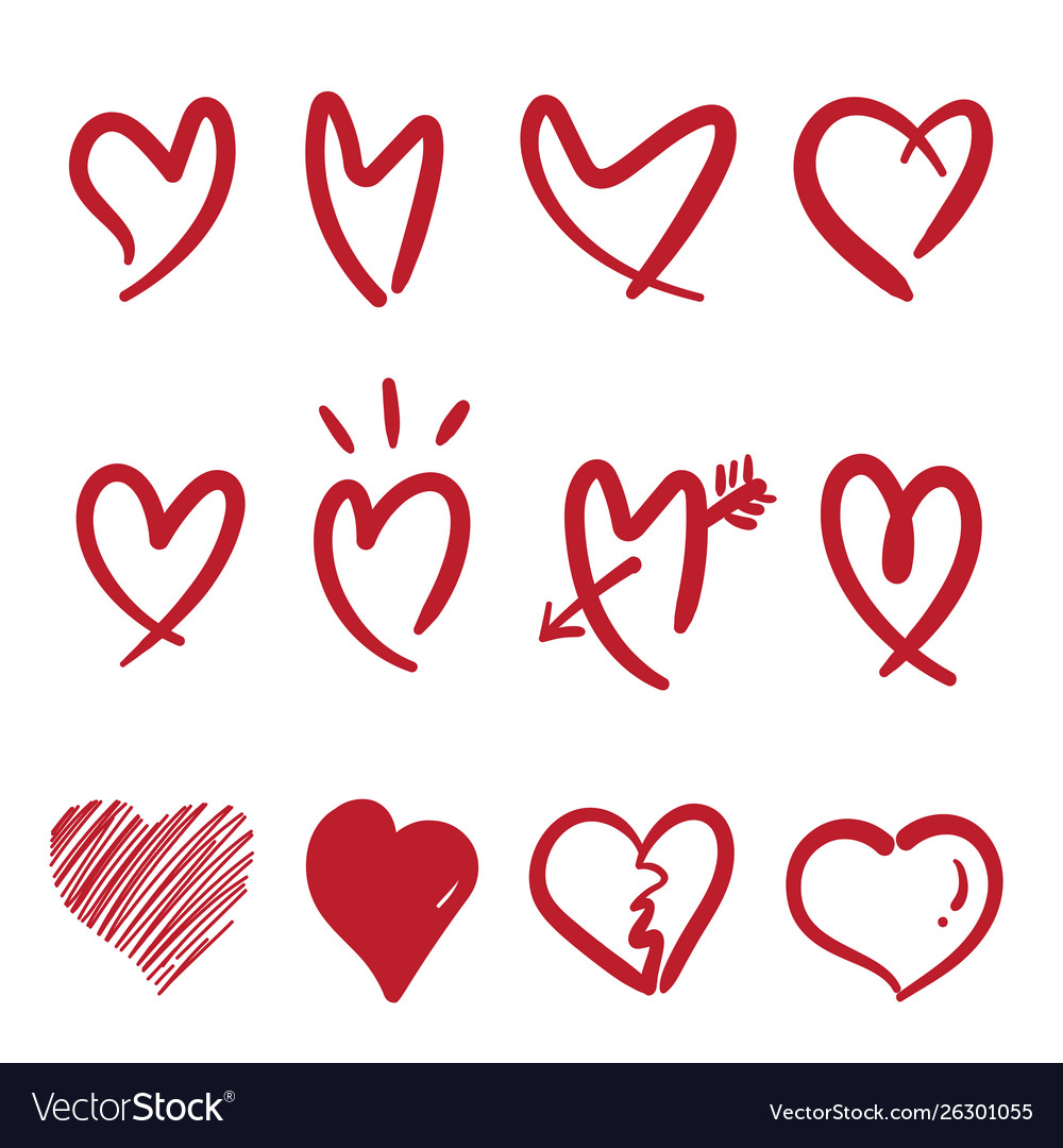 Hand drawn doodle style heart isolated on white