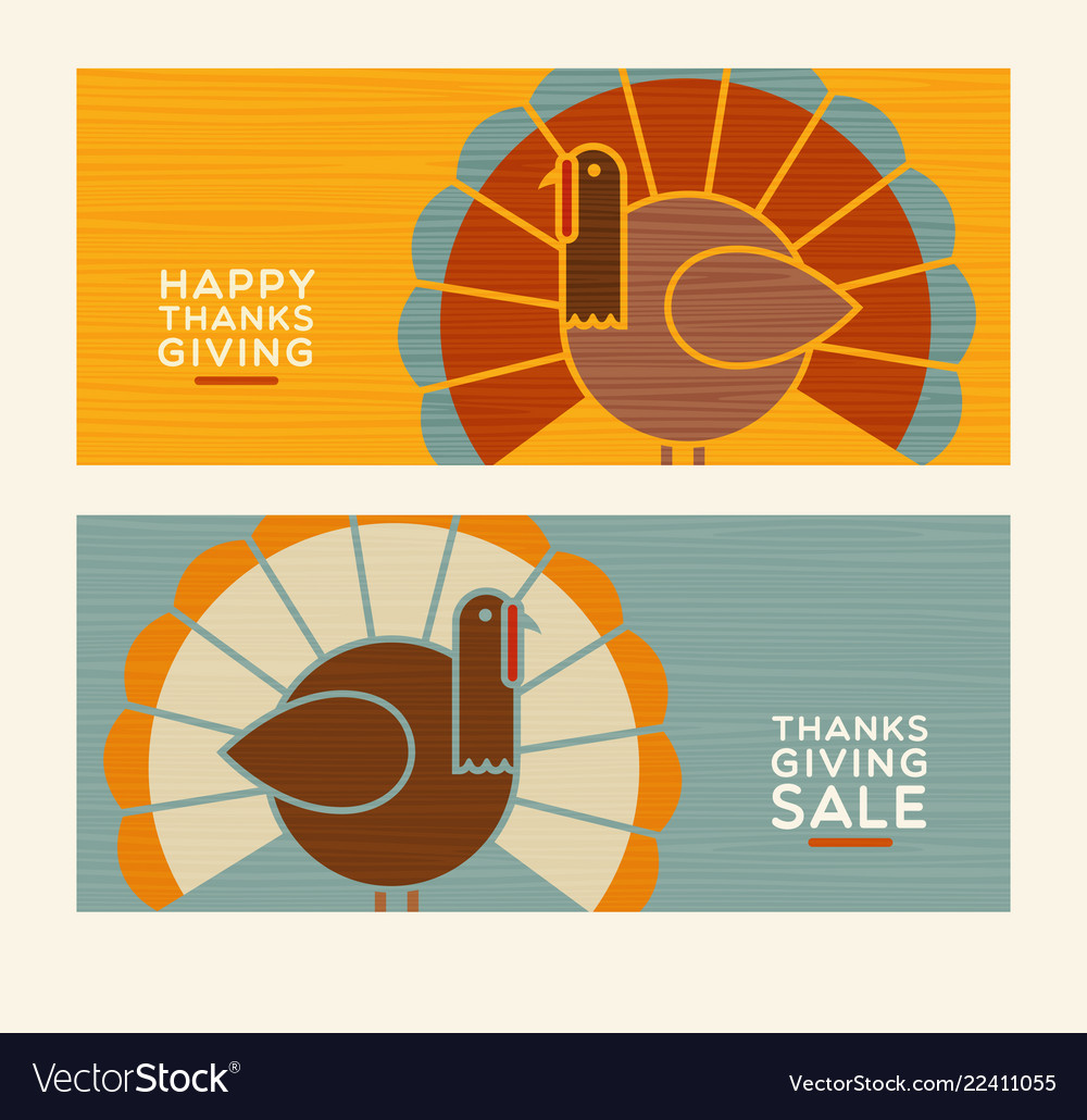 Happy thanksgiving abstract turkey banners