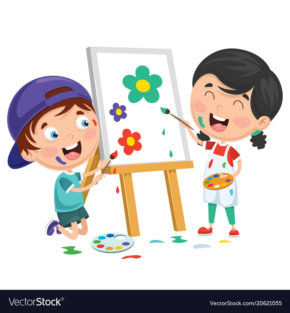Kids painting on canvas Royalty Free Vector Image