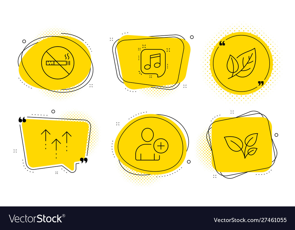 Leaf add user and swipe up icons set no smoking