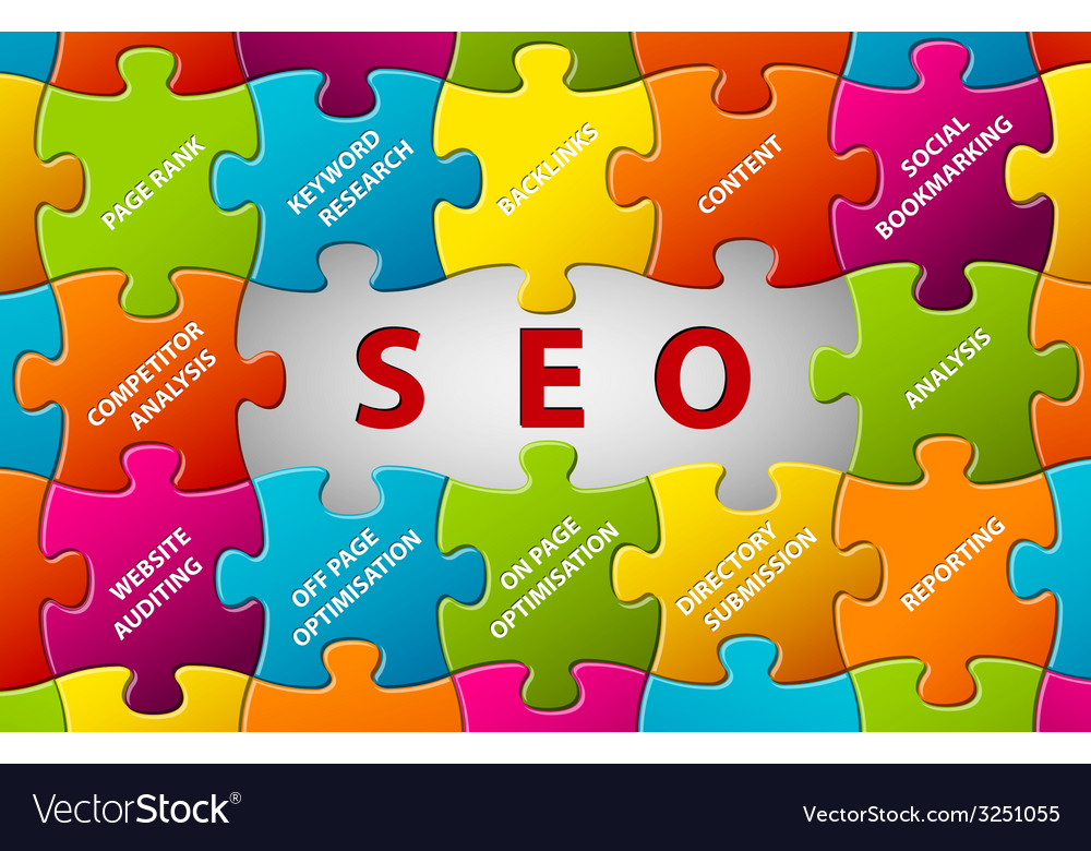 SEO puzzle background Royalty Free Vector Image