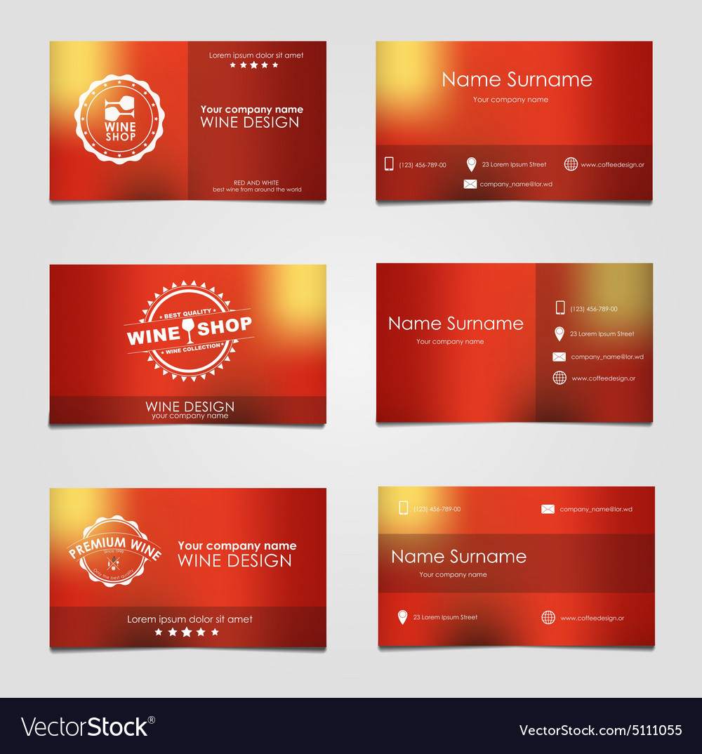 Set business cards for wine