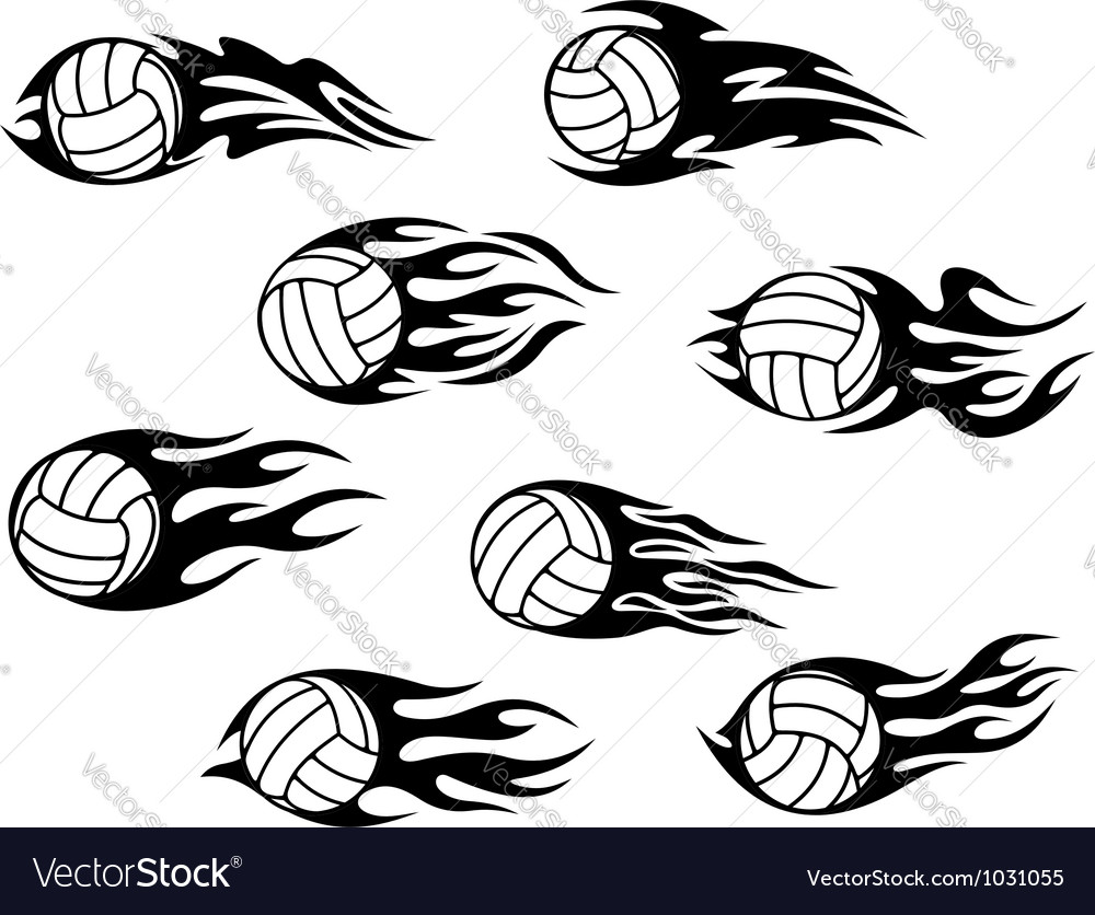 Set of volleyball sports tattoos