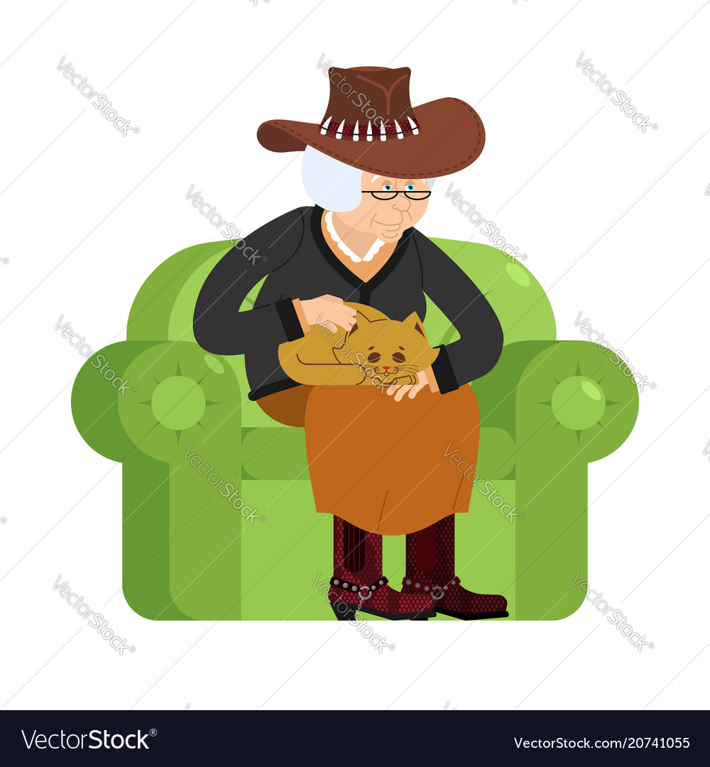 Western grandmother cowboy and cat sitting on