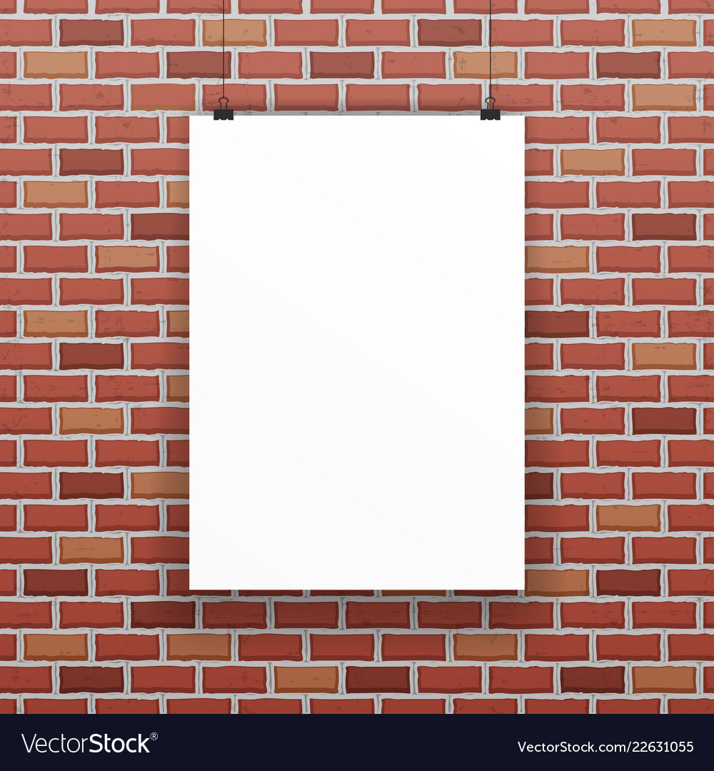 White blank paper sheet raw red brick wall