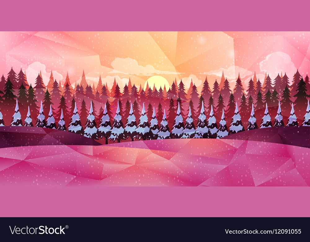 Winter forest background low poly style