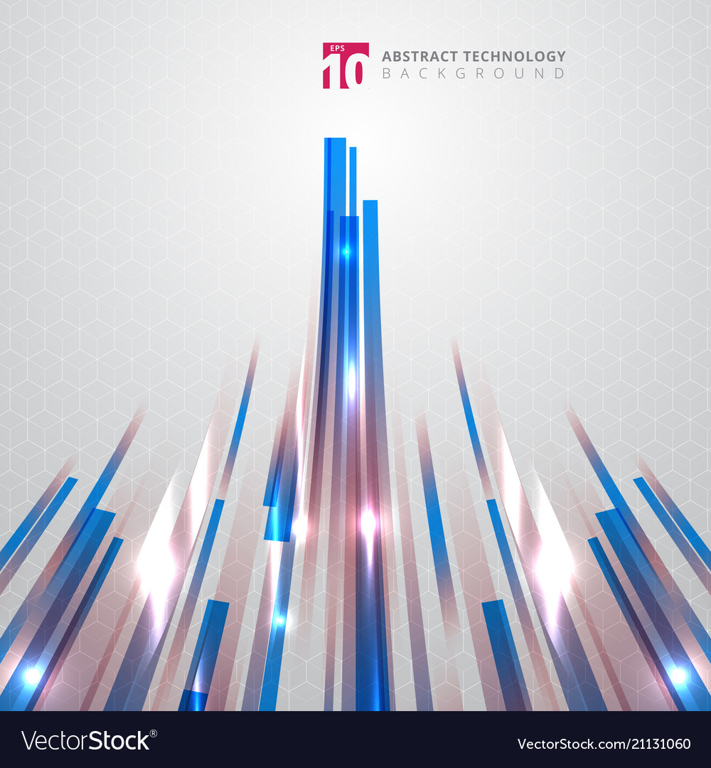 Abstract technology blue and red color straight