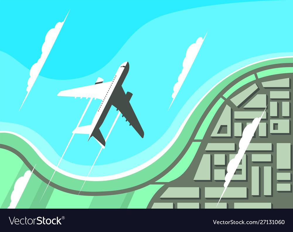Airplane flying over seashore flat design