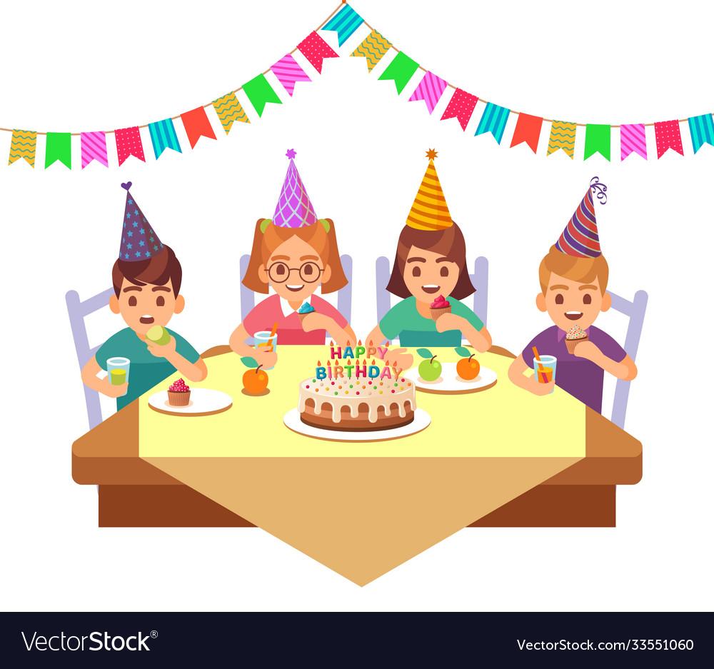 Birthday happy child children in fective cone