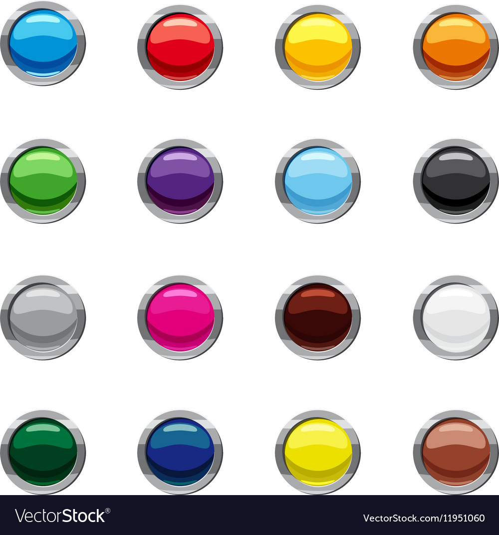 Blank round web buttons icons set cartoon style