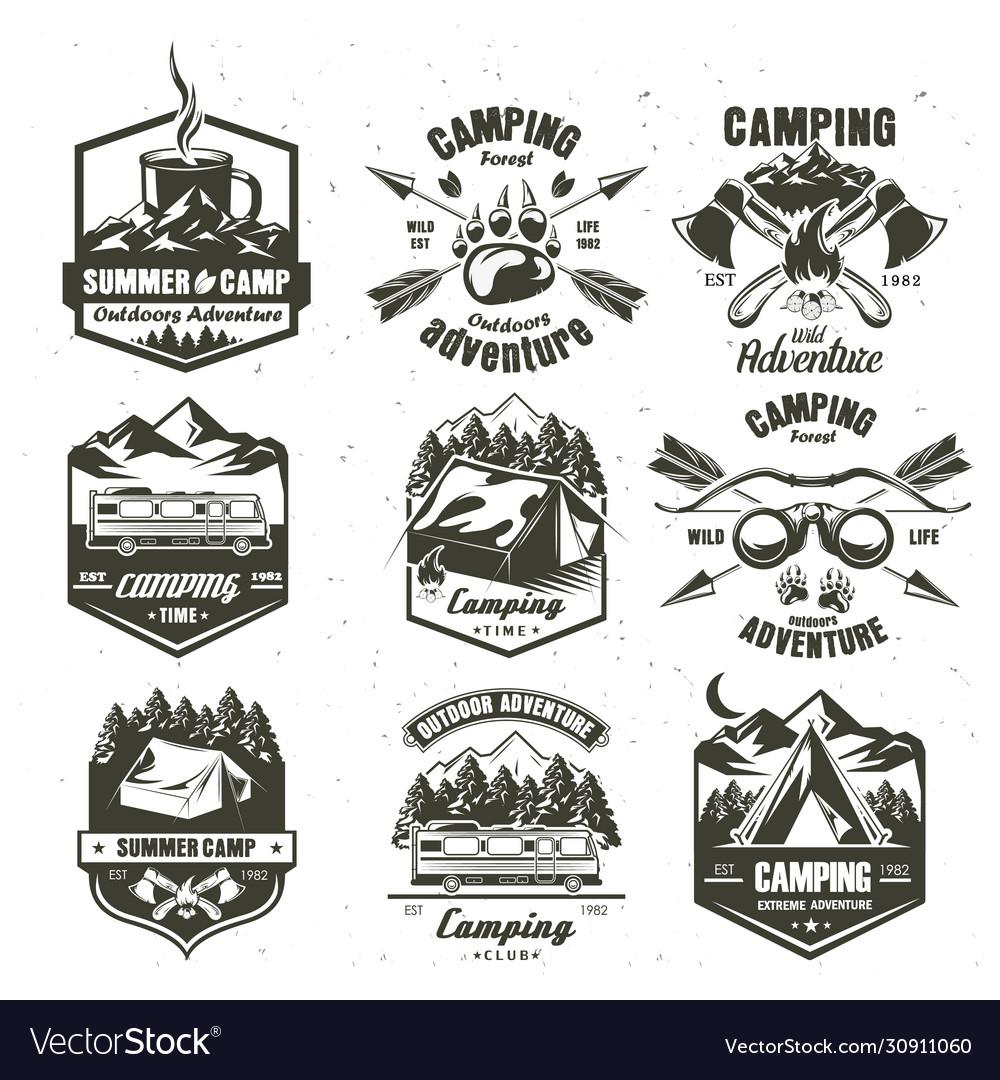 Camping vintage logo set monochrome