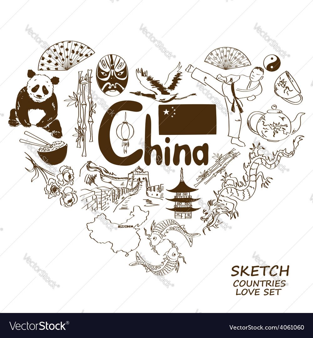 Chinese Symbols In Heart Shape Concept Royalty Free Vector