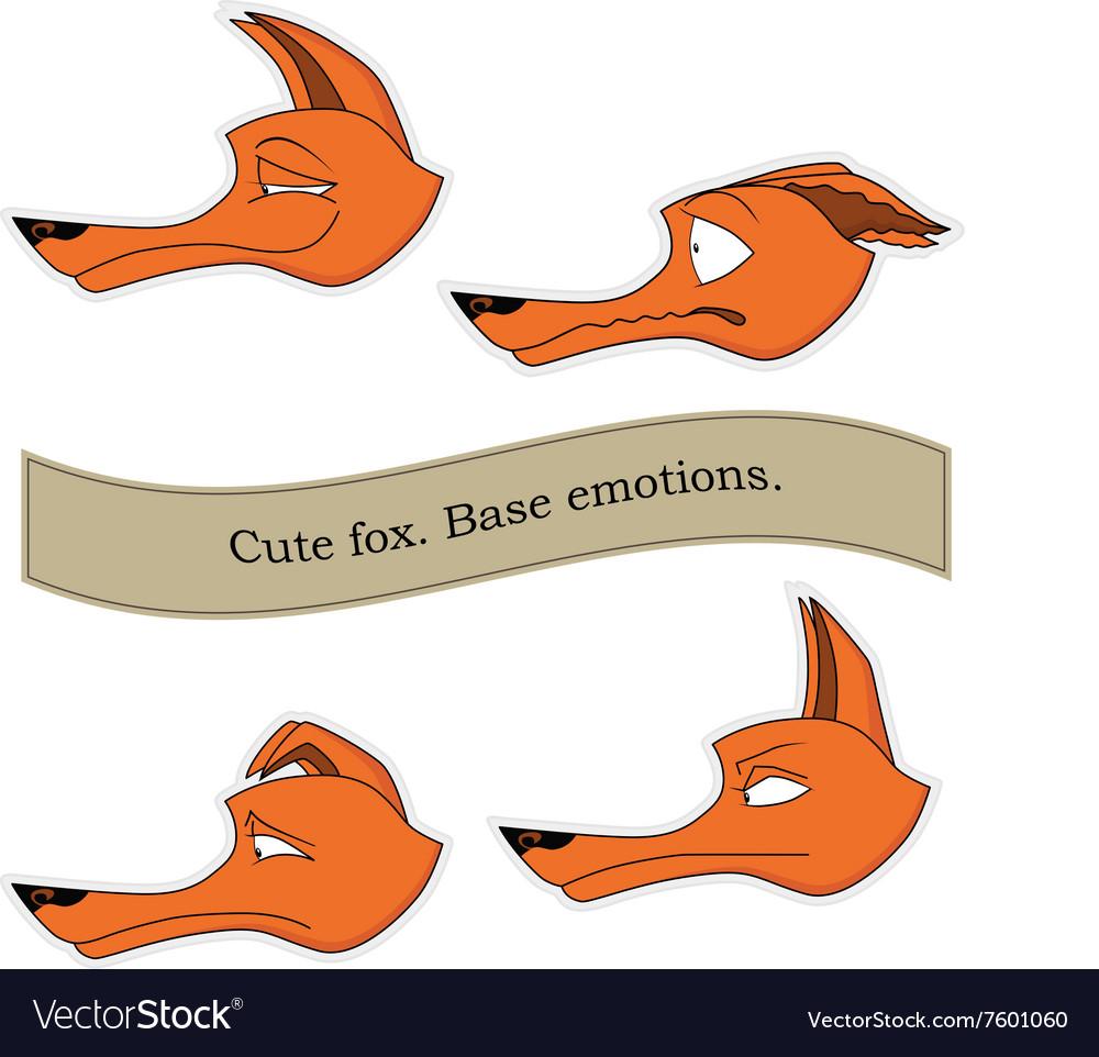 Cute fox emotions sticker pack Base emotions set