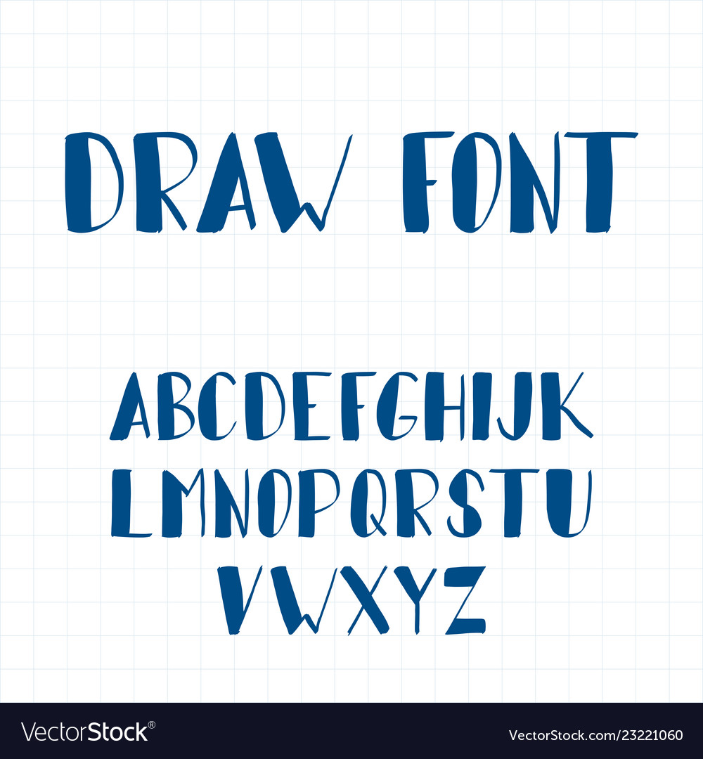 Dynamic hand drawn brush pen uppercase font