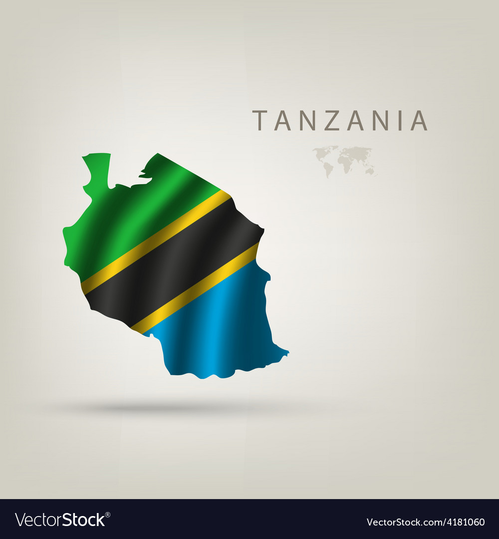 Flag of TANZANIA as a country with a shadow