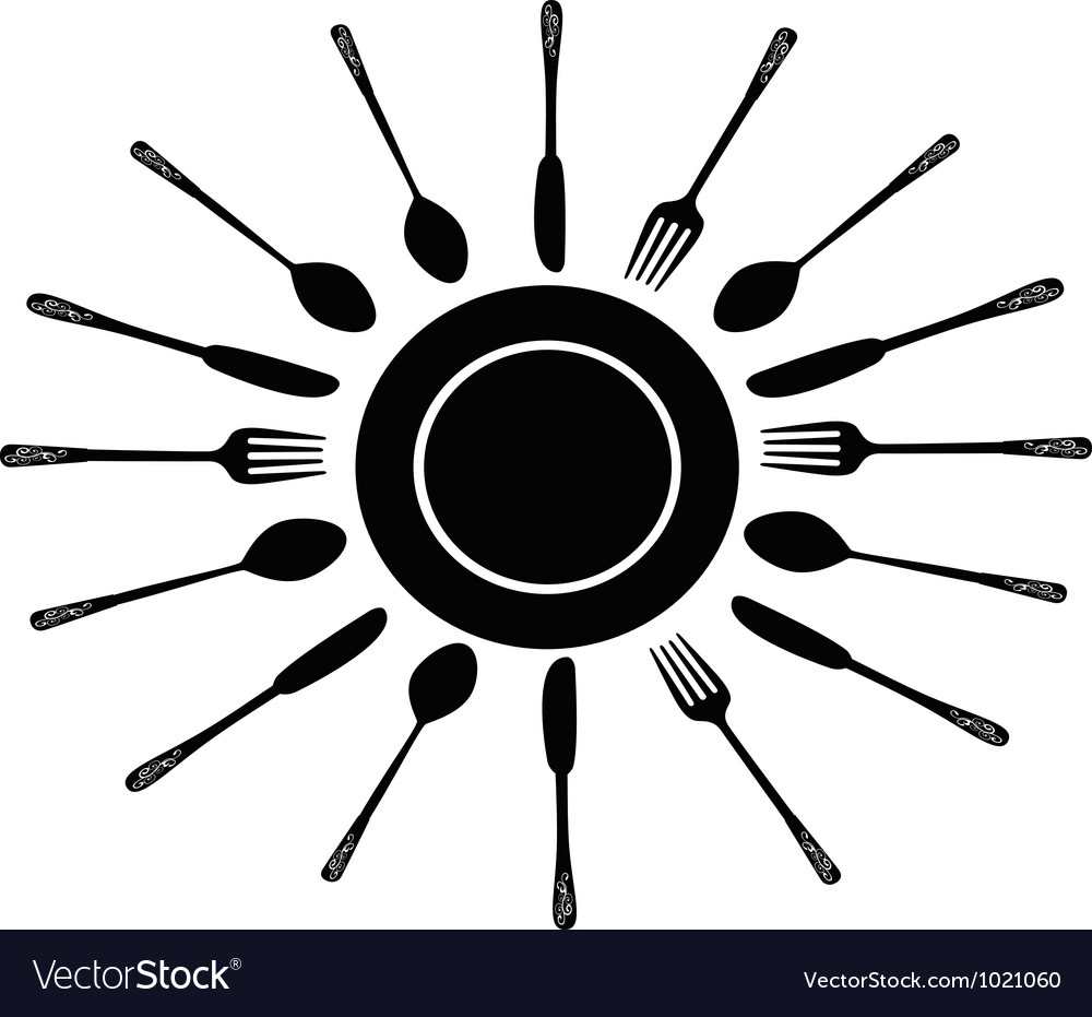 Fork spoon and knife around the dish vector image