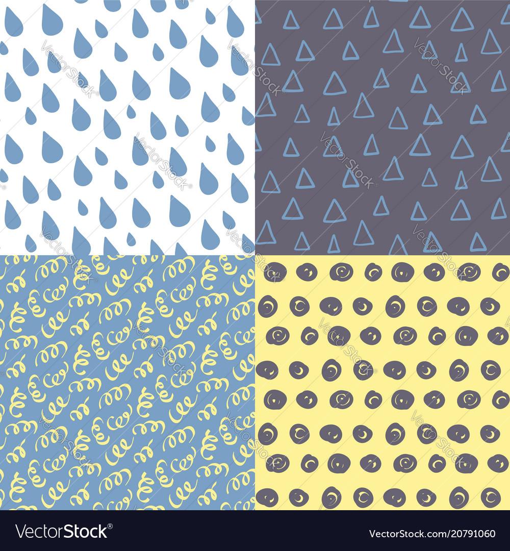 Hand drawn seamless pattern set simple texture