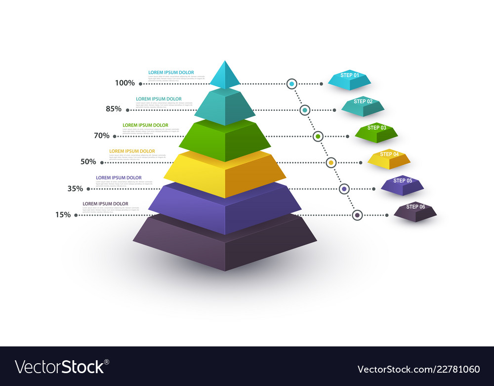 Infographic pyramid with step structure and with