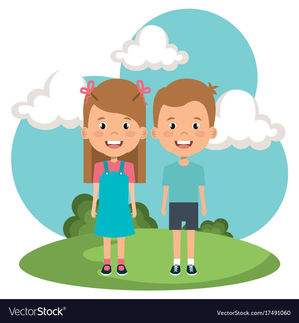 Little kids in the park characters vector image