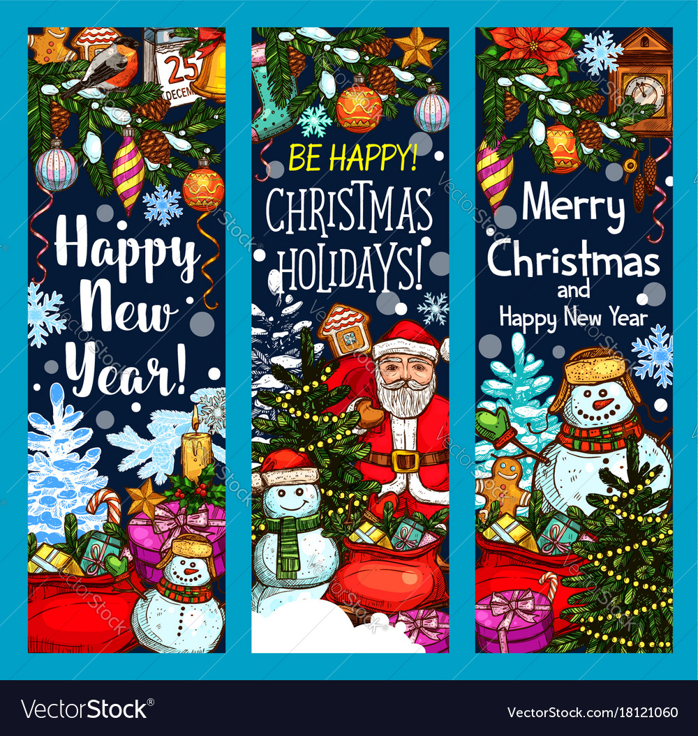 Merry christmas santa gifts sketch banners