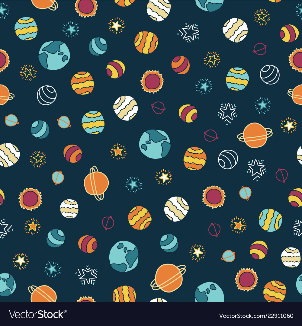 Planets and stars seamless background
