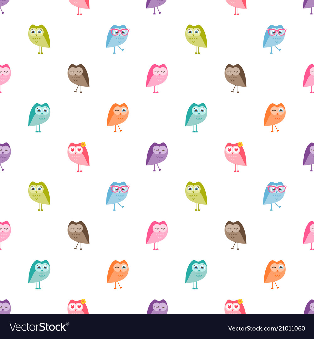 Seamless pattern with funny owls