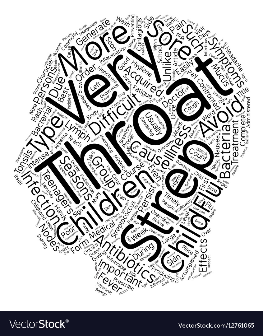 Childhood Strep Throat Overview text background vector image