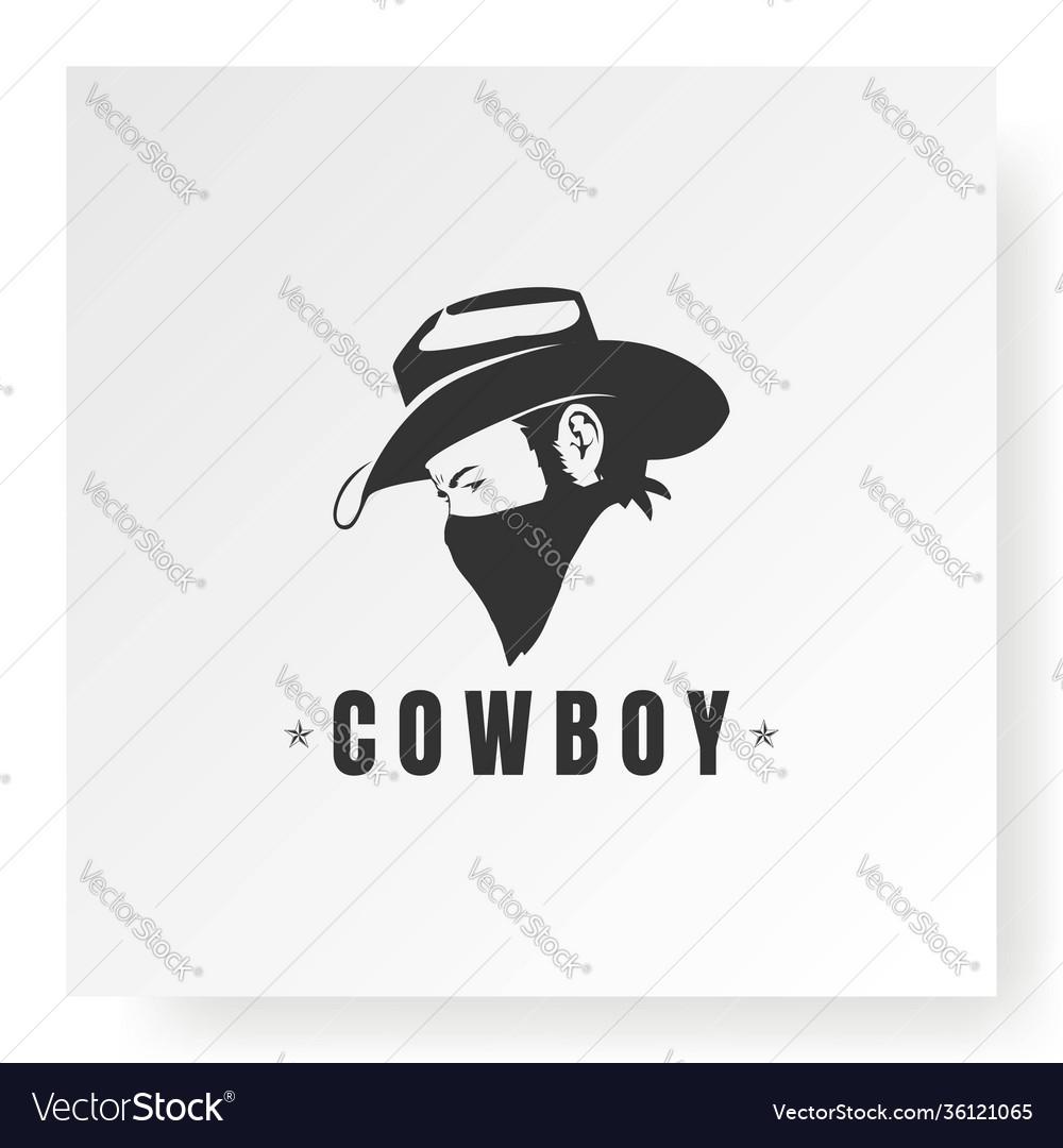 Cowboy with bandana scarf mask logo design