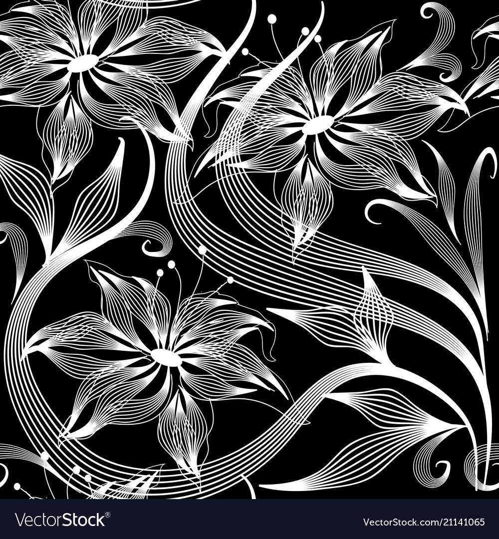 Elegance abstract flowers seamless pattern