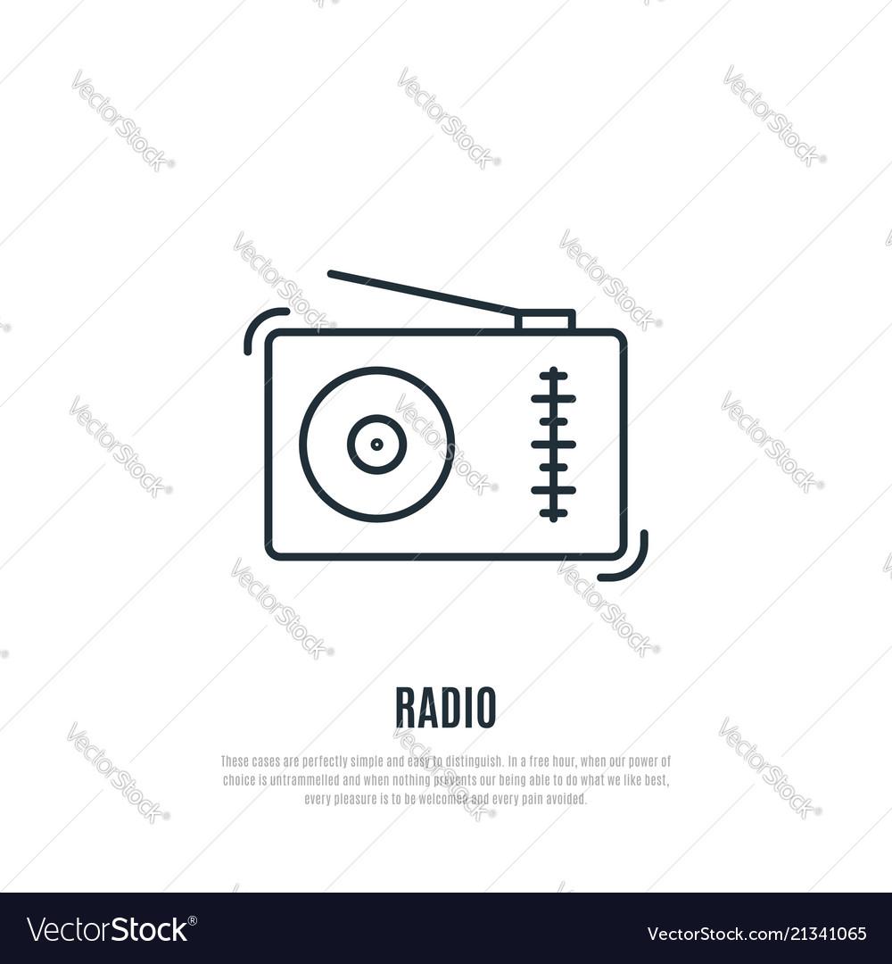 Fm receiver icon radio sign line art style