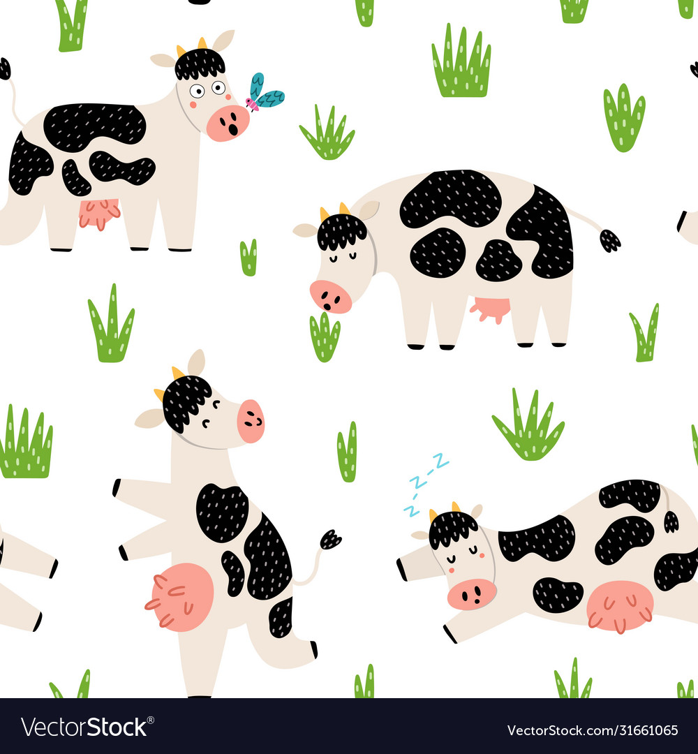 Funny countryside seamless pattern with cute cows