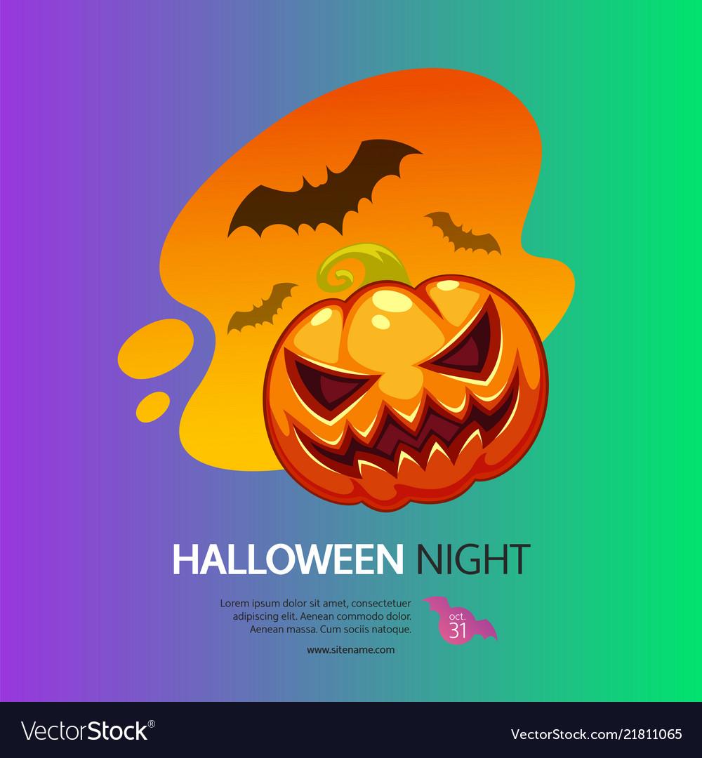 Halloween night greeting card with pumpkin