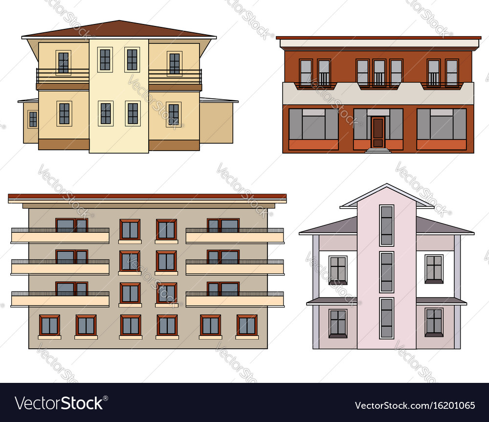 House front view set city building facade