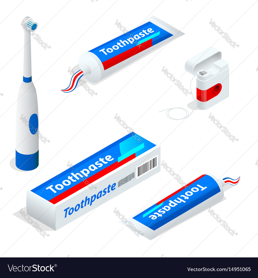 Isometric set of toothpaste toothbrush dental