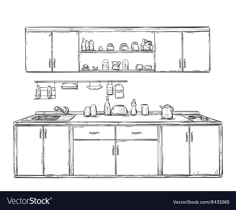 Kitchen Cupboard Shelves Hand Drawn Vector Image